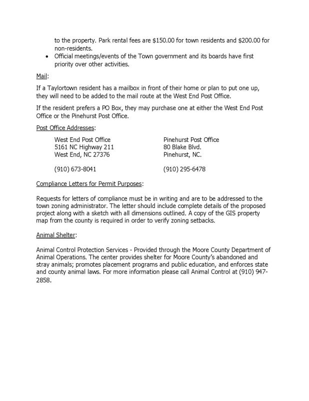 General Information for Taylortown Residents - Page 2